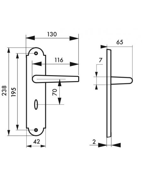 Ensemble de poignées pour porte intérieure Charon à condamnation, carré 7mm, entr'axes 195mm, acier patiné - THIRARD Poignée
