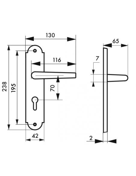 Ensemble de poignées pour porte d'entrée Charon trou de cylindre, carré 7mm, entr'axes 195mm, acier rouillé - THIRARD Poignée