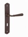 Ensemble de poignées pour porte intérieure Charon trou de clé, carré 7mm, entr'axes 195mm, acier rouillé - THIRARD Poignée