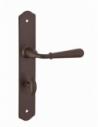 Ensemble de poignées pour porte intérieure Charon à condamnation, carré 7mm, entr'axes 195mm, acier rouillé - THIRARD Poignée