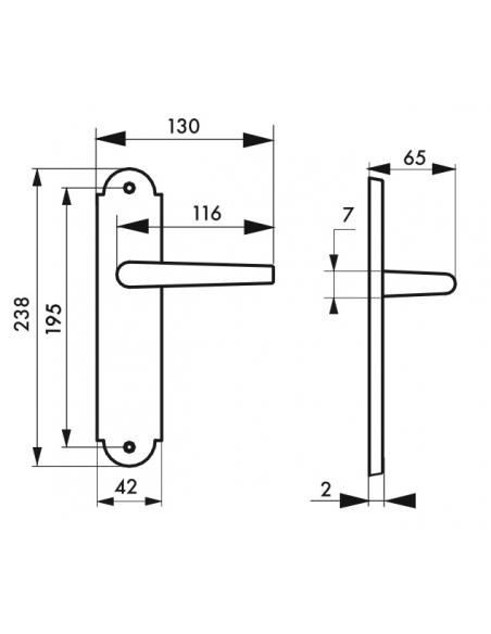 Ensemble de poignées pour porte intérieure Charon sans trou, carré 7mm, entr'axes 195mm, acier rouillé - THIRARD Poignée