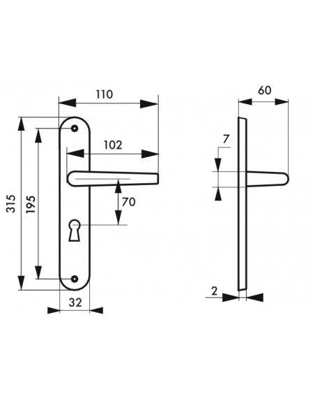 Ensemble de poignées pour porte intérieure Coq trou de clé, carré 7mm, entr'axes 195mm, laqué noir - THIRARD Poignée