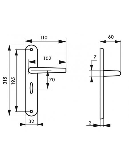 Ensemble de poignées pour porte intérieure Coq à condamnation, carré 7mm, entr'axes 195mm, laqué noir - THIRARD Poignée