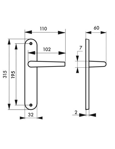 Ensemble de poignées pour porte intérieure Coq sans trou, carré 7mm, entr'axes 195mm, laqué noir - THIRARD Poignée