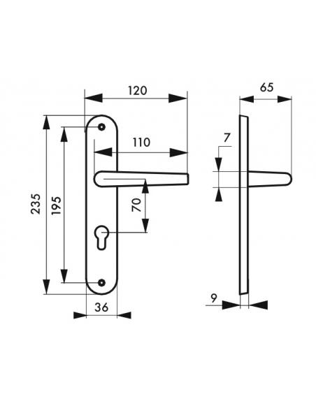 Ensemble de poignées pour porte d'entrée Hebe trou de cylindre, carré 7mm, entr'axes 195mm, laqué blanc - THIRARD Poignée