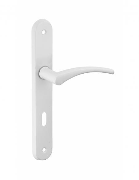 Ensemble de poignées pour porte intérieure Hebe trou de clé, carré 7mm, entr'axes 195mm, laqué blanc - THIRARD Poignée