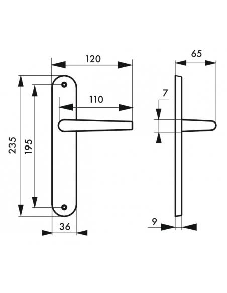 Ensemble de poignées pour porte intérieure Hebe sans trou, carré 7mm, entr'axes 195mm, laqué blanc - THIRARD Poignée