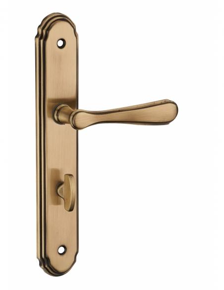 Ensemble de poignées pour porte intérieure Arthemis à condamnation, carré 7mm, entr'axes 195mm, laiton patiné - THIRARD Poignée