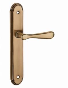 Ensemble de poignées pour porte intérieure Arthemis sans trou, carré 7mm, entr'axes 195mm, laiton platiné - THIRARD Poignée