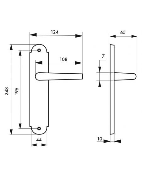 Ensemble de poignées pour porte intérieure Arthemis sans trou, carré 7mm, entr'axes 195mm, laiton patiné - THIRARD Poignée