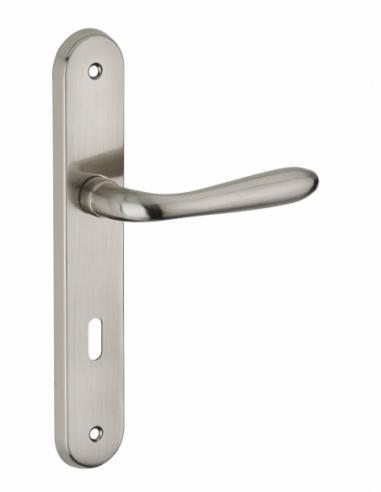 Ensemble de poignées pour porte intérieure Athena trou de clé, carré 7mm, entr'axes 195mm, nickelé brossé - THIRARD Poignée