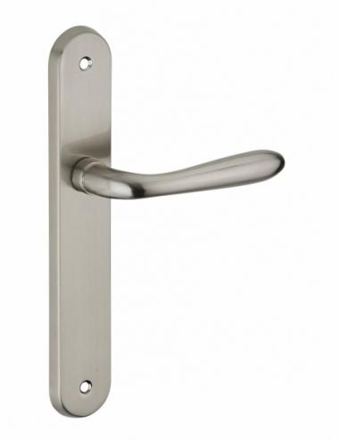 Ensemble de poignées pour porte intérieure Athena sans trou, carré 7mm, entr'axes 195mm, nickelé brossé - THIRARD Poignée