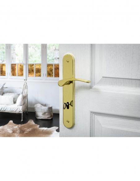 Ensemble de poignées pour porte intérieure Dionysos trou de clé, carré 7mm, entr'axes 195mm, laitonné - THIRARD Poignée