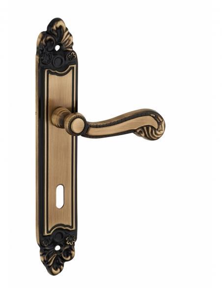 Ensemble de poignées pour porte intérieure Louis XV trou de clé, carré 7mm, entr'axes 195mm, laiton vieilli - THIRARD Poignée