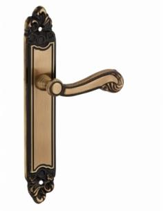 Ensemble de poignées pour porte intérieure Louis XV sans trou, carré 7mm, entr'axes 195mm, laiton vieilli - THIRARD Poignée