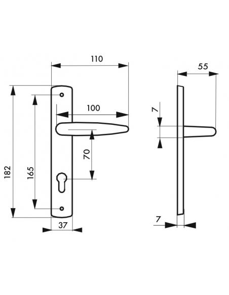 Ensemble de poignées pour porte intérieure Ares trou de cylindre, carré 7mm, entr'axes 165mm, chromé - THIRARD Poignée