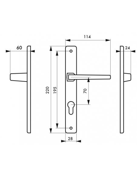 Ensemble poignées pour porte d'entrée Picardie trou cylindre, carré 7mm, entr'axes 195mm, saillie réduite, couleur F2 - THIRA...
