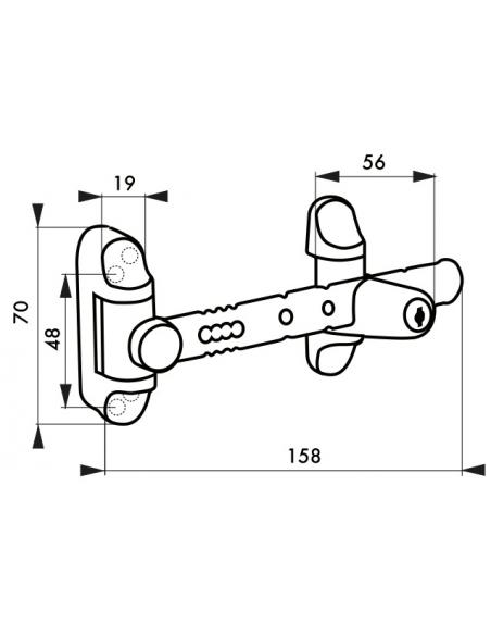 Entrebailleur à clé pour fenêtre 1 à 2 vantaux, 158mm, laqué blanc, 2 clés - THIRARD Equipement