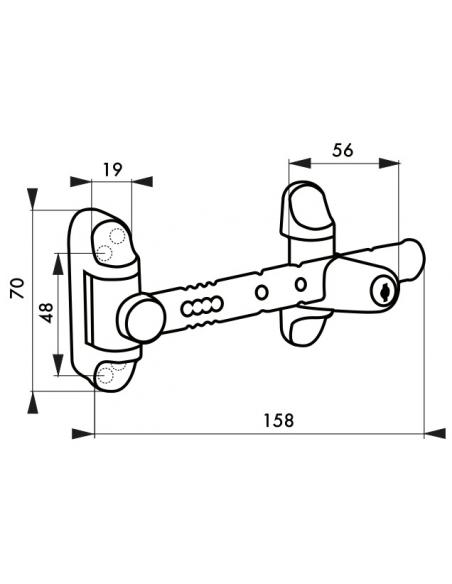 Entrebailleur à bouton pour fenêtre 1 à 2 vantaux, 158mm, laqué blanc - THIRARD Equipement