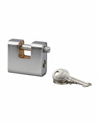 Cadenas à clé prisonnière Land Blindé, acier, extérieur, anse acier, 60mm, 3 clés - THIRARD Cadenas