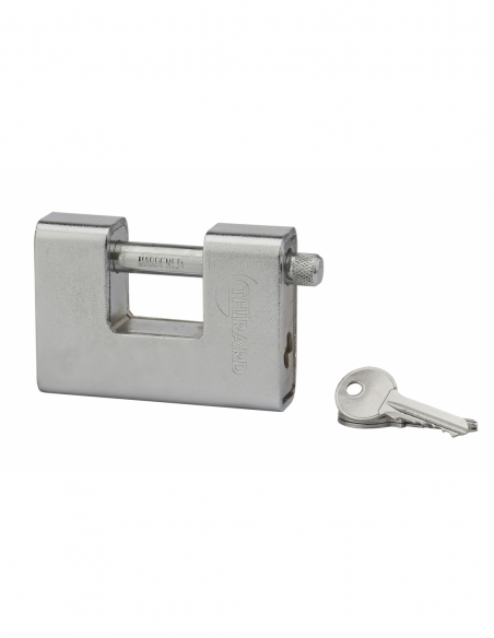 Cadenas à clé prisonnière Land Blindé, acier, extérieur, anse acier, 90mm, 3 clés - THIRARD Cadenas