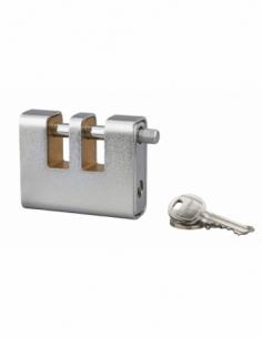 Cadenas à clé prisonnière Land Blindé, acier, extérieur, double anse acier, 90mm, 3 clés - THIRARD Cadenas