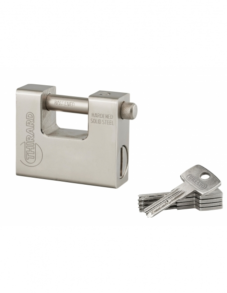 Cadenas à clé Thor, acier, chantier, anse acier, 84mm, 5 clés réversibles - THIRARD Cadenas
