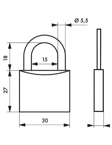 Cadenas à clé Type 1, extérieur, laiton, 30mm, 2 clés - THIRARD Cadenas