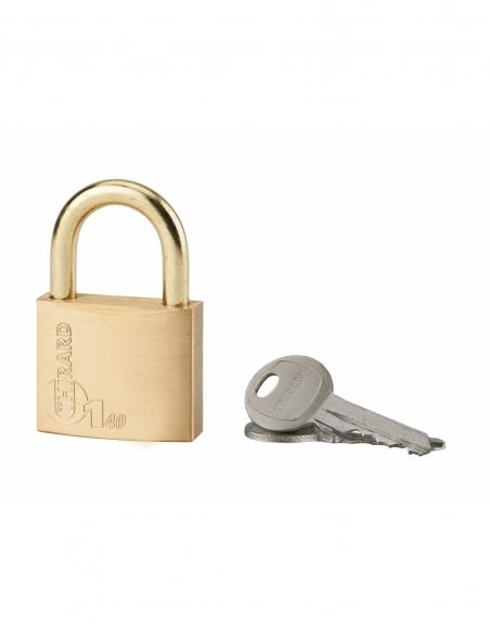 Cadenas à clé Type 1, laiton, extérieur, anse laiton, 40mm, 2 clés - THIRARD Cadenas