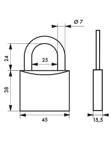 Cadenas à clé Type 1, laiton, intérieur, anse acier, 45mm, 2 clés - THIRARD Cadenas