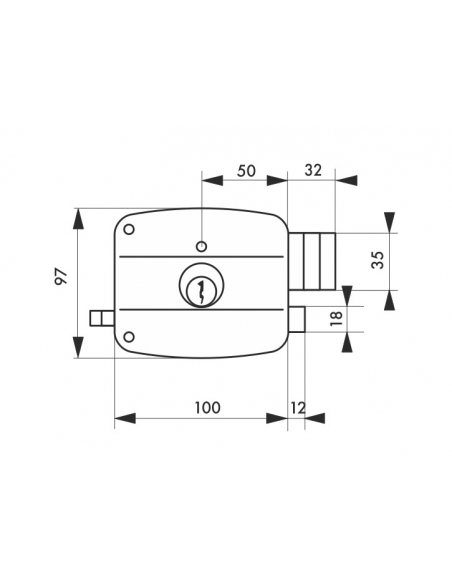 Serrure horizontale en applique double entrée à tirage pour entrée, droite, 100x97mm, axe 50mm, noir granité, 3 clés - THIRAR...