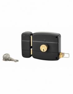 Serrure horizontale en applique double entrée à tirage pour entrée, gauche, 100x97mm, axe 50mm, noir granité, 3 clés - THIRAR...
