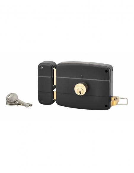 Serrure horizontale en applique double entrée à tirage pour entrée, gauche, 120x97mm, axe 60mm, noir granité, 3 clés - THIRAR...