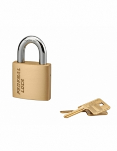 Cadenas à clé Fédéral Lock 520, laiton, chantier, anse acier, 45mm, 2 clés - THIRARD Cadenas