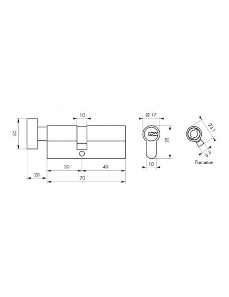 Cylindre de serrure à bouton Transit 2, 30Bx40mm, nickel, anti-arrachement, anti-perçage, anti-crochetage, 4 clés - THIRARD C...