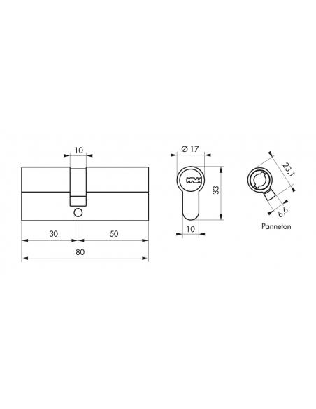 Cylindre de serrure double entrée Transit 2, 30x50mm, nickel, anti-arrachement, anti-perçage, anti-casse, 4 clés - THIRARD Cy...