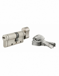Cylindre de serrure Trafic 12, 30Bx40mm, nickel, anti-arrachement, anti-perçage, anti-casse, 5 clés - THIRARD Cylindre à bouton