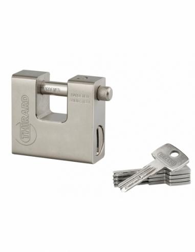 Cadenas à clé Thor, acier, chantier, anse acier, 74mm, 5 clés réversibles - THIRARD Cadenas