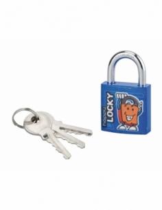 Cadenas à clé Happy Lock, acier, intérieur, anse acier, 30mm, bleu, 3 clés - THIRARD Cadenas