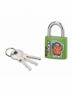 Cadenas à clé Happy Lock, acier, intérieur, anse acier, 30mm, vert, 3 clés - THIRARD Cadenas