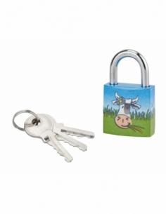 Cadenas à clé Chtiote Meuh 8, acier, intérieur, anse acier, 30mm, 3 clés - THIRARD Cadenas