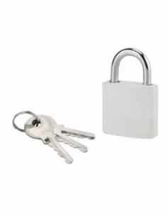 Cadenas à clé Fashion Leather, acier, intérieur, anse acier, 30mm, blanc, 3 clés - THIRARD Cadenas