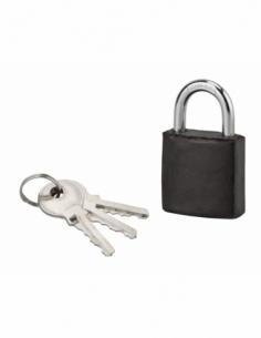 Cadenas à clé Fashion Leather, acier, intérieur, anse acier, 30mm, noir, 3 clés - THIRARD Cadenas