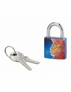 Cadenas à clé Lion, acier, intérieur, anse acier, 30mm, 3 clés - THIRARD Cadenas