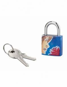 Cadenas à clé Vierge, acier, intérieur, anse acier, 30mm, 3 clés - THIRARD Cadenas