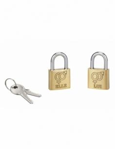 Lot de 2 cadenas à clé Love, laiton, intérieur, anse acier, 30mm, elle/lui, 2 clés/cadenas - THIRARD Cadenas à clé