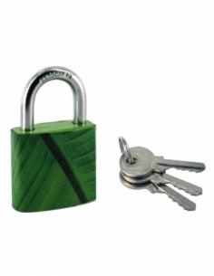 Cadenas à clé Green Idea Bananier, acier, intérieur, anse acier, 30mm, 2 clés - THIRARD Cadenas à clé