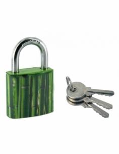Cadenas à clé Green Idea Bambou, acier, intérieur, anse acier, 30mm, 2 clés - THIRARD Cadenas à clé