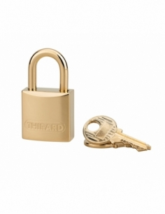 Cadenas à clé Luxe, laiton, intérieur, anse laiton, 20mm, or, 2 clés - THIRARD Cadenas à clé