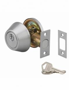 Serrure horizontale tubulaire en applique à bouton pour porte d'entrée, axe réglable, chromé, 3 clés - THIRARD Verrou de porte
